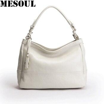 MESOUL Genuine Leather Tote Bag Women Handbags Fashion Beige Satchel Purse Female Designer Large Capacity Casual Shoulder Bags