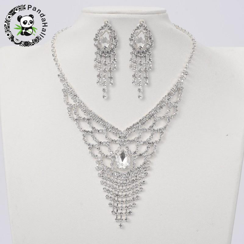 Silver Tone Brass Rhinestone Cup Chain Wedding Jewelry Sets, Bib Necklace and Clip on Earring, with Glass Cabochons, Crystal,