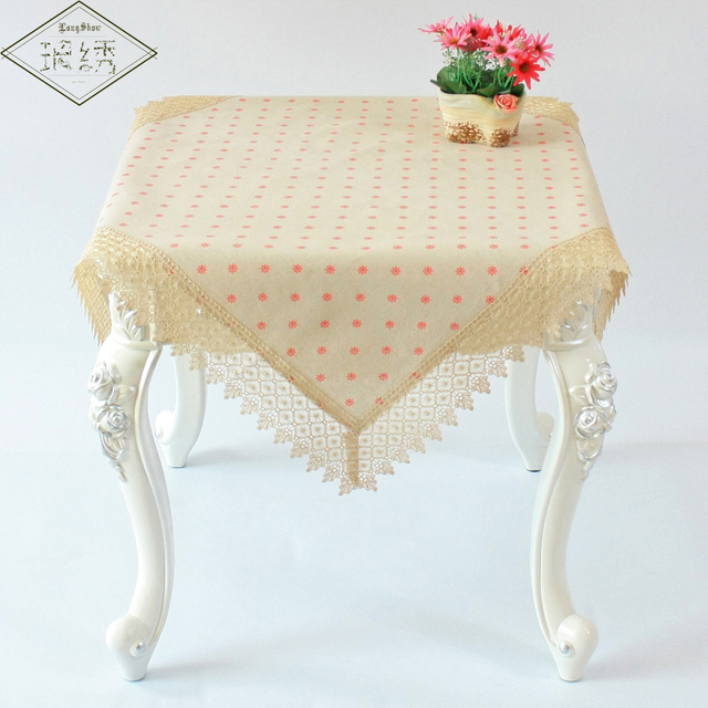 2017 Newest Design Cute Polka Dot Linen Embroidered Lace Trim Linen  Tablecloth