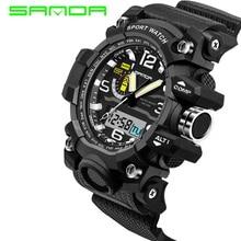 SANDA brand men sports watches dual display analog digital LED Electronic quartz watches 30M waterproof swimming watc