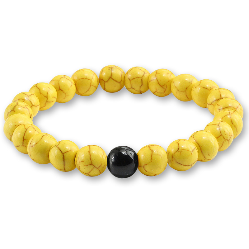 Trendy Yellow Natural Stone Beads Charm Bracelets & Bangles for Women Round Beaded Strand Bracelet Men Jewelry Pulseira Feminina 1
