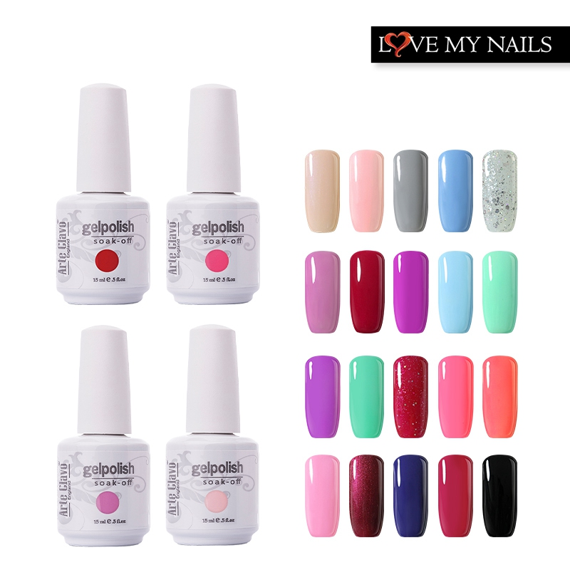 Arte Clavo Pilih 1 Pcs Dari 220 Warna 15ml Gel Cat Kuku Art UV Gel Dipimpin Lampu Kuku Gel Polish Kuku Gel Atas