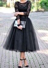 Vintage Schwarzer Tee Länge Prom Kleid Mit drei Viertel ärmeln Spitze tüll party kleider vestido de festa abendkleid