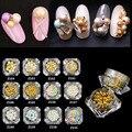 3 MM-6 MM de la Bola Redonda Granos de la Perla de Uñas de Algodón 2016 Nuevo Japón 3D Nail Art Deco Metal Perla Stud Oro/Plata Para Las Uñas polaco