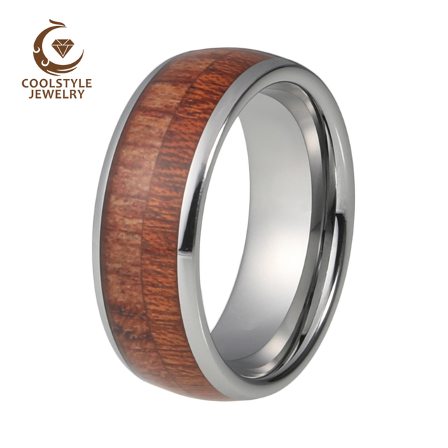 Wedding Band Ring Tungsten Carbide Real Koa Wood Inlay Domed High Polished Comfort Fit 6mm