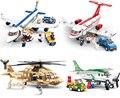1 Conjuntos de Blocos de Construção Sluban Airbus Avião Helicópteros Militares Do Exército pçs/set Cidade Militar Tijolos Brinquedos Compatíveis Legoe Aviões