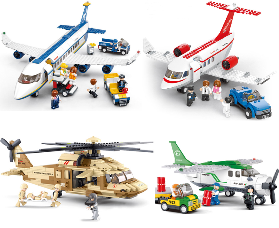 1pcs Sluban Military Helicopter Airbus Airplane Building Blocks Toy Set Army City Military Lepine Toys Compatible with Planes