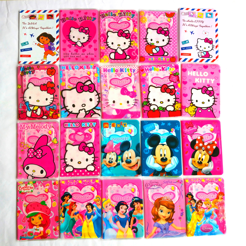 Chicas moda cuero PVC pasaporte, Mickey y Minnie dibujos animados ...