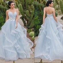 Özel Sevgiliye Boyun Çizgisi Kolsuz A line Plise düğün elbisesi Dantel Aplike Kemer dantel up Katmanlı Tül Gelin Elbise