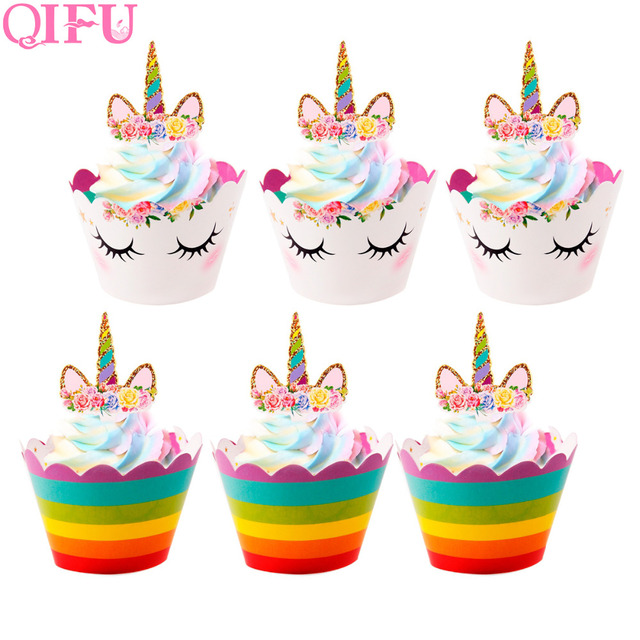 Qifu Cupcake Toppers Cupcake Wrapper Unicorn Birthday Party