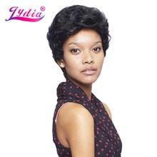 Лидия синтетические парики для черных женщин чистый цвет 1B короткий кудрявый парик Kanekalon синтетические афроамериканские парики