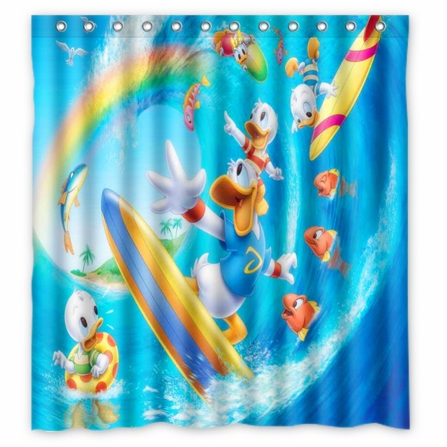 Vixm Home Donald Duck Shower Curtain TV Sports Figures Bathroom Curtains With Hooks 66x72 Inch