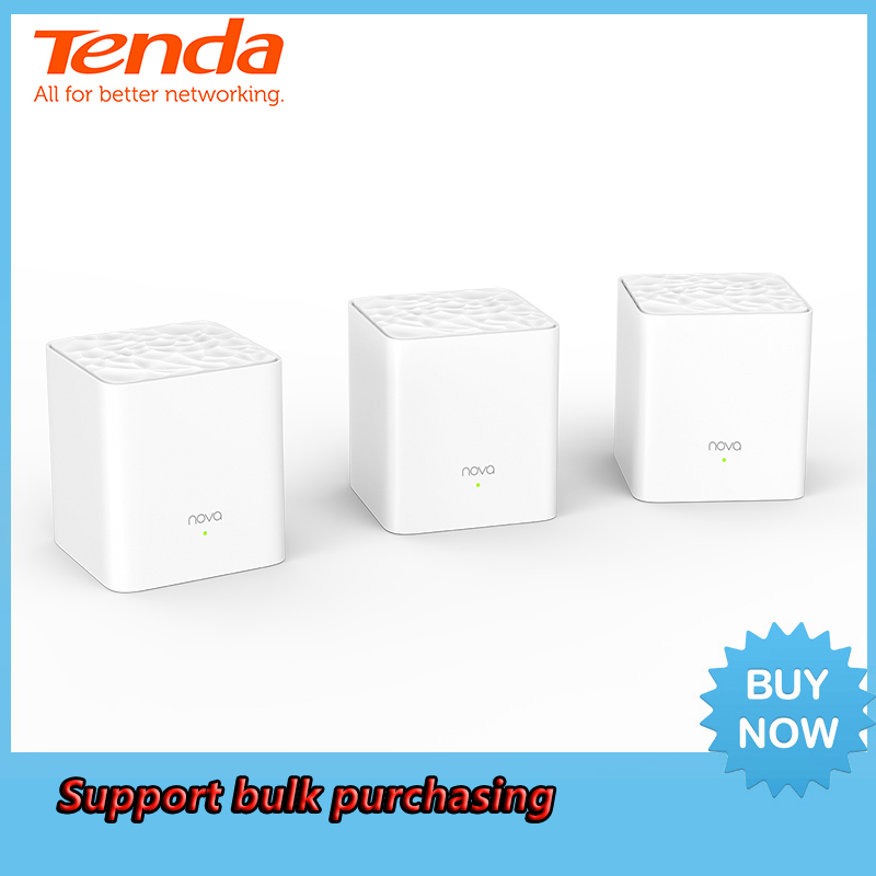 Tenda Nova MW3 Whole Home Mesh WiFi Gigabit System with AC1200 2.4G/5.0GHz WiFi Wireless Router and Repeater, APP Remote Manage