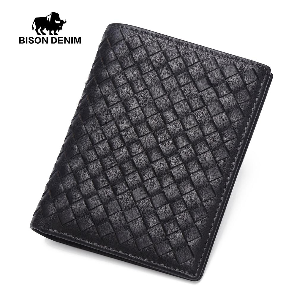 BISON DENIM luxury brand men wallets slim male bifold pocket wallet card holder purse сумка bison denim n1157 bis0n denim