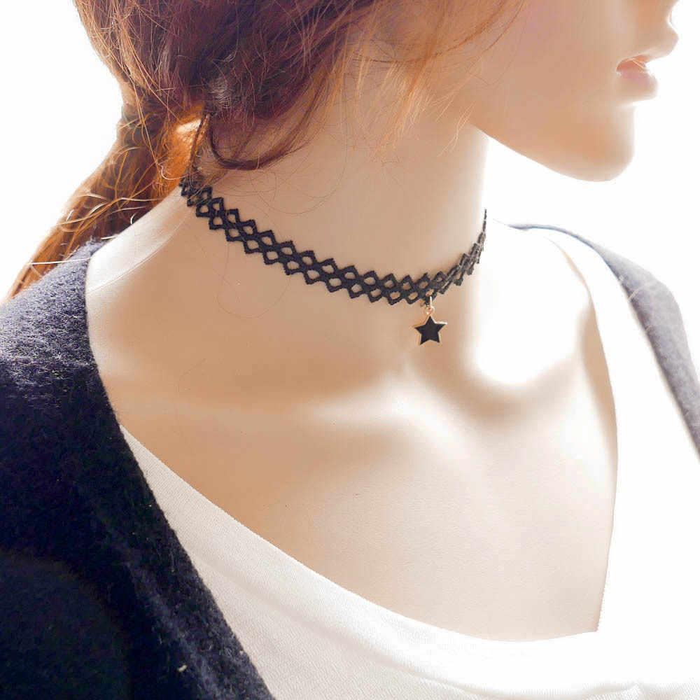 Gothic styl prosty czarny koronki metalowe wisiorek w kształcie gwiazdy tatuaż Choker naszyjnik kobiety Lady kołnierz ortopedyczny biżuteria akcesoria