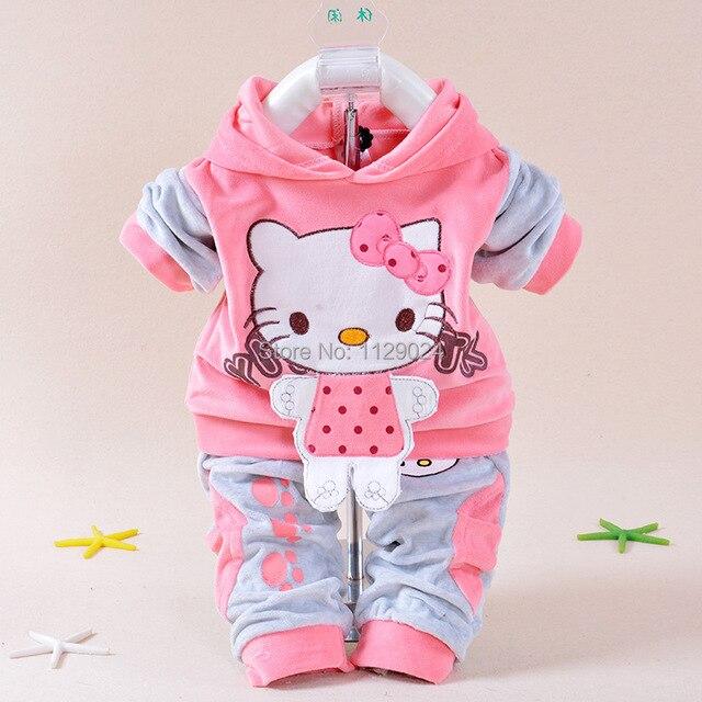 Новые комплект ребенка зимой одежда привет котенок с капюшоном пальто + брюки Twinset с длинным рукавом бархатные толстые новорожденных одежда младенцы костюм