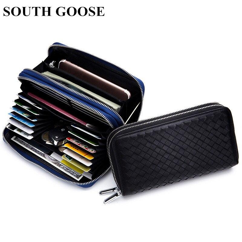 SOUTH GOOSE Men/Women Classic Wallet Double Zipper Long Wallet Sheepskin Knitting Business Purse Large Capacity Clutch Wallets