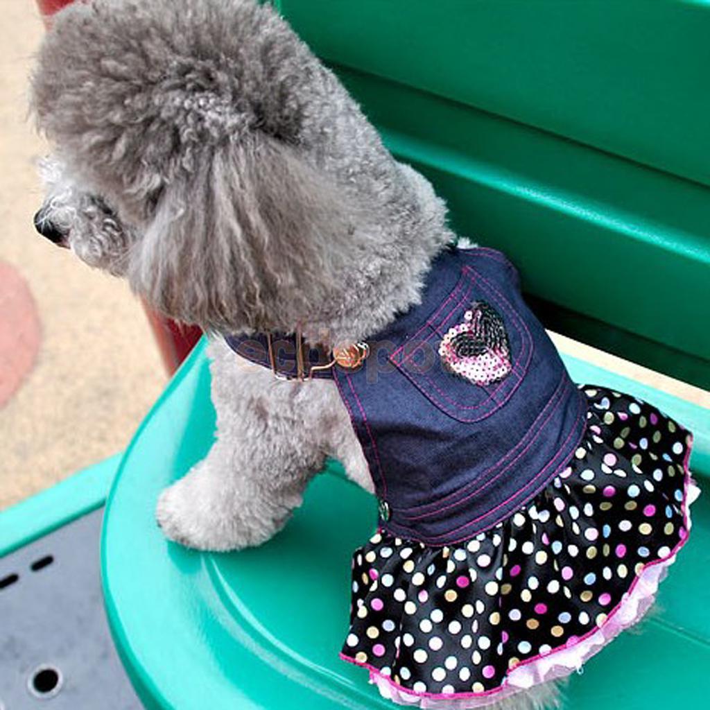 Собака Щенок джинсовый комбинезон милый розовый блесток Сердце с оборками в горошек платье-джемпер