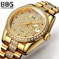 Relogio Masculino Анжела BOS брендовые роскошные часы для мужчин непромокаемые золотистый, серебристый, цвета алмаза автоматические механические на