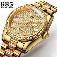 Relogio Masculino ANGELA BOS Brand Luxury Watch Men Waterproof Gold Silver Diamond Automatic Mechanical Wrist Watch Montre Homme