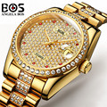 Relogio Masculino ANGELA BOS Marke Luxus Uhr Männer Wasserdichte Gold Silber Diamant Automatische Mechanische Armbanduhr Montre Homme-in Mechanische Uhren aus Uhren bei