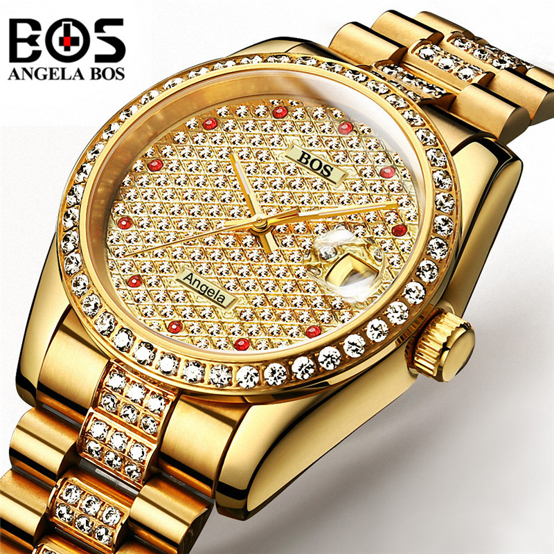 Relogio masculino ANGELA BOS Homens Relógio Marca de Luxo Diamante Ouro Prata Mecânico Automático À Prova D' Água Relógio de Pulso Montre Homme