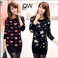 2013 Autumn And Winter Female Cotton Sweater Bottoming Shirt Long Paragraph He Stars Sweater Dress Wholesale