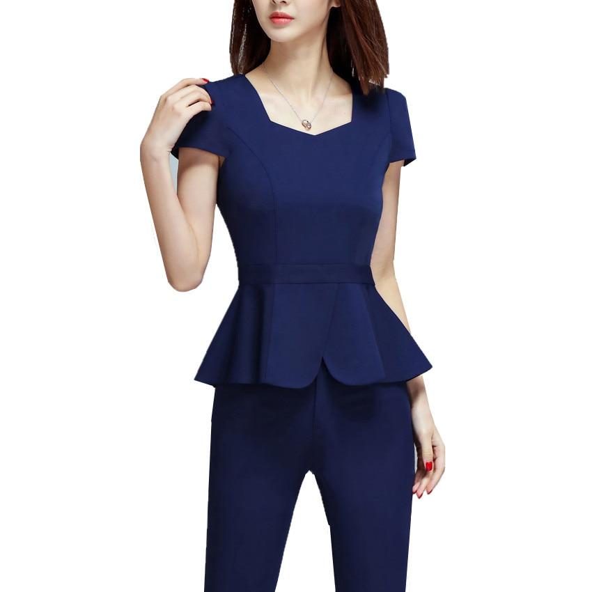 2 Piece Women Set Office Blouse Pant Suit Plus Size S To ...
