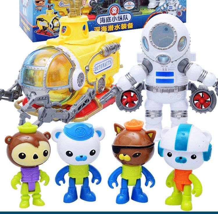 2017 Octonauts подводная лодка и дайвинг костюм игрушечные лошадки с Octonauts цифры для маленьких детей Рождественский подарок
