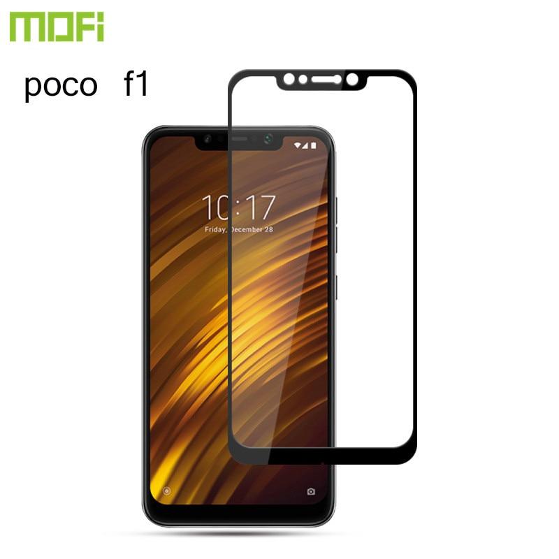For Xiaomi Pocophone F1 Glass Mofi For Xiaomi Poco F1 Glass Screen Protector Pocof1 Tempered Glass Front Guard Hard Black