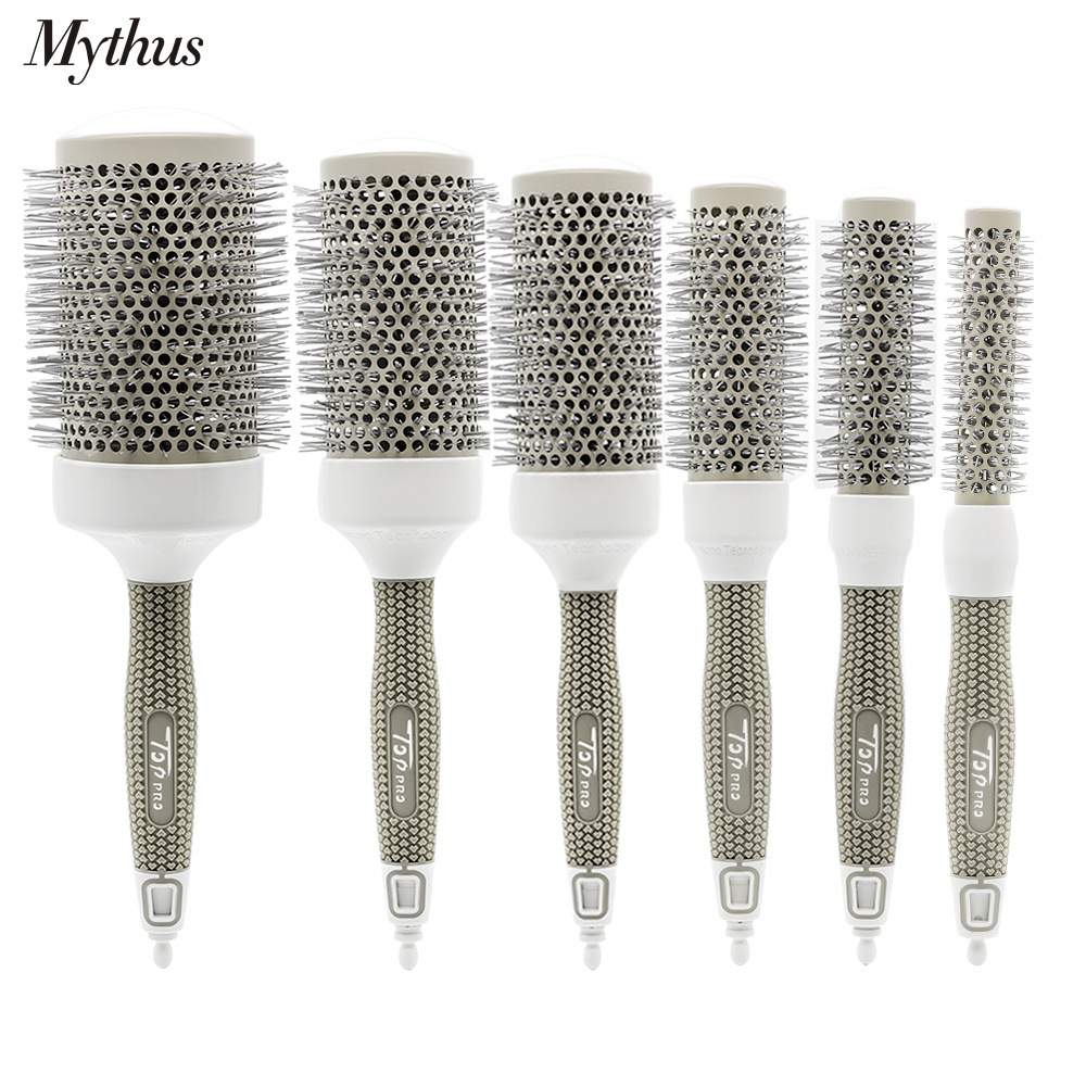 6 Size Available Hair Ceramic Brush Alunimium Tube Ionic Round Hairbrush For Hairstyling Pro Hairdressing Brushes With Tail Pin