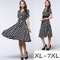 5XL,6XL,7XL,Vestidos Summer Women Dress Polka Dot Short Sleeve Retro Casual Robe Rockabilly Party Dresses V-neck Vintage Dresses