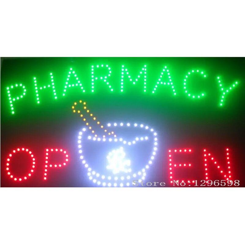 2017 Pharmacie néon signes vente chaude écran led affichage 15.5x27.5 pouces intérieur cartel sentier lumineux pharmacie clignotant led ouvert panneau de signe