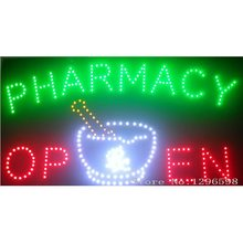 Pharmacy neon signs hot sale led screen display 15.5x27.5 inch indoor cartel luminoso pharmacy flashing led open sign board(China)