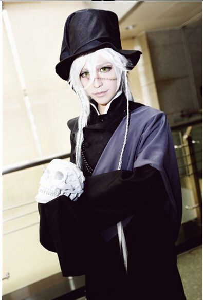 Hot Anime Black Butler Undertaker Cosplay Costume Black Funeral Full Set Any Size Free Shipping NEW