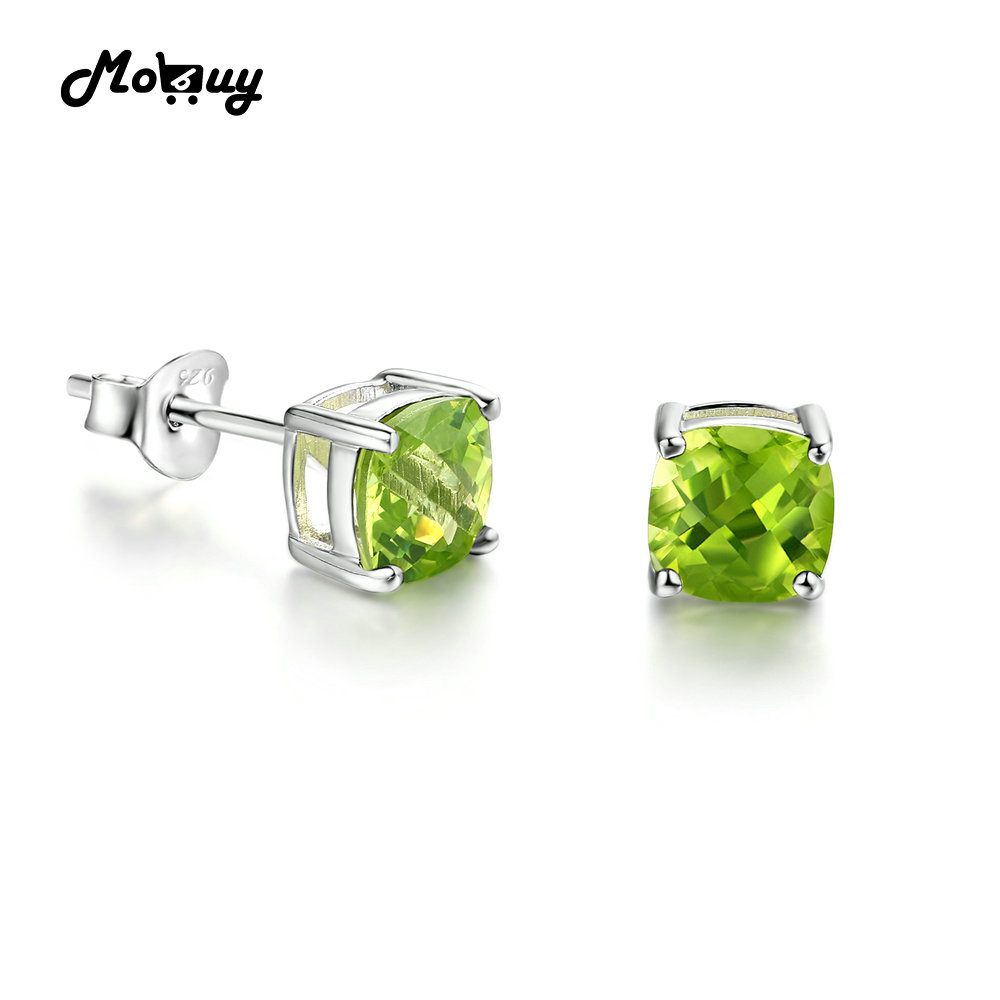 MoBuy MBEI004 Cushion Cut Green Natrual Gemstone Peridot Stud Earrings 925 Sterling Silver White Gold Plated Jewelry For WomenMoBuy MBEI004 Cushion Cut Green Natrual Gemstone Peridot Stud Earrings 925 Sterling Silver White Gold Plated Jewelry For Women