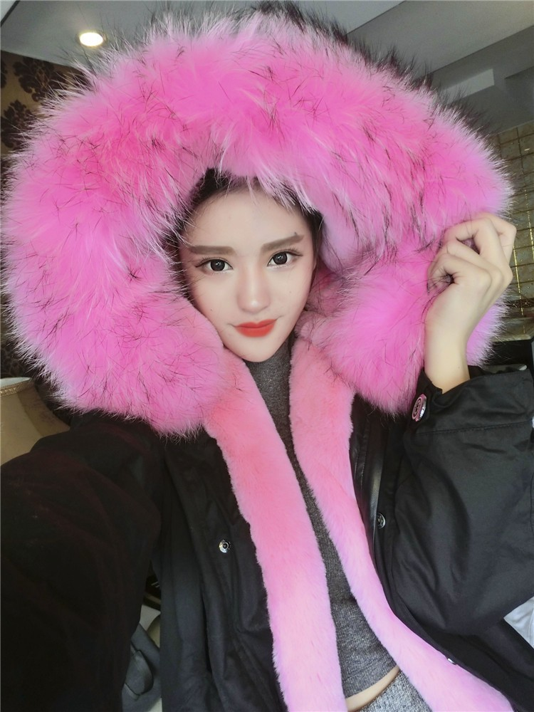 Thicker warmth woman army green large raccoon fur collar hooded coat parkas outwea winter jacket brand style