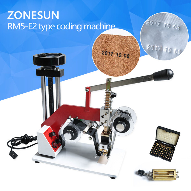 ZONESUN ZY-RM5-E(2) Color Ribbon Hot Printing Machine,date code ribbon Hot foil stamping machine,batch number foil embossor