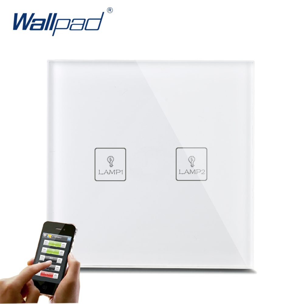 Waterproof WIFI Wallpad White Tempered Glass Android/IOS Phone 2 Gang Wireless WIFI Remote Touch Controlled Light Wall Switch 1gang white glass gsm zigbee mobile wireless remote control light switch wifi remote light switch android ios free shipping