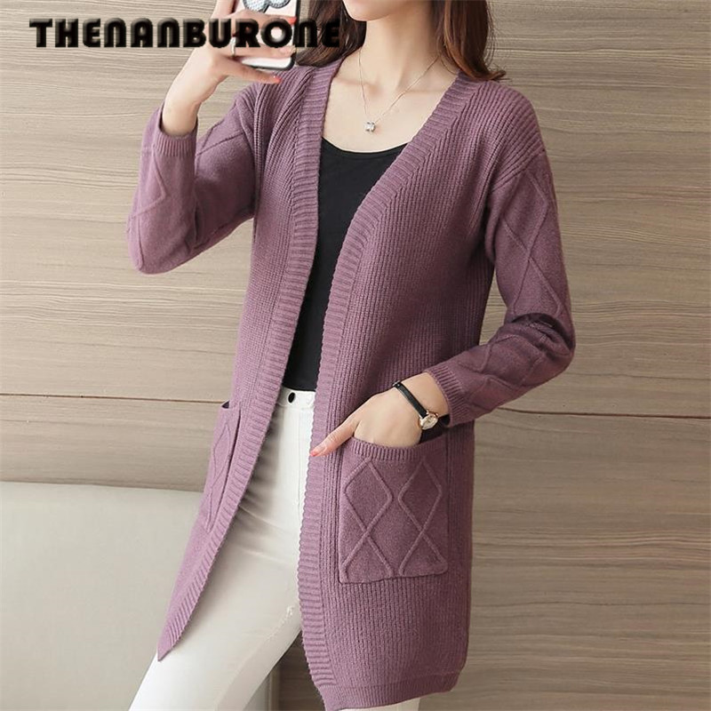 THENANBURONE Winter Womens Casual Long Knitted Cardigan Feminino 2017 Korean Women Pull Femme Loose Pockets Design Sweater Coat