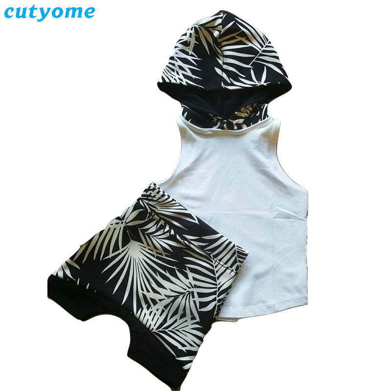 Cutyome Wholesales 5sets/lot Kids Boys Clothing Hooded Collar Vest+Hip Hop Harem Shorts Trousers Sports Suits For Baby Boy Girls