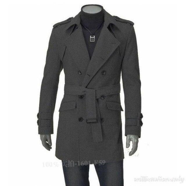 a132ddc3301 Men Slim Large Size Peacoat Autumn Winter Warm Long Jacket Cotton Korean  Fashion Classic Coat Black