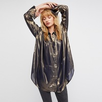 2018 spring women's new blouses casual long design loose large blouses golden color shiny blouses fashion oversized shirts tops