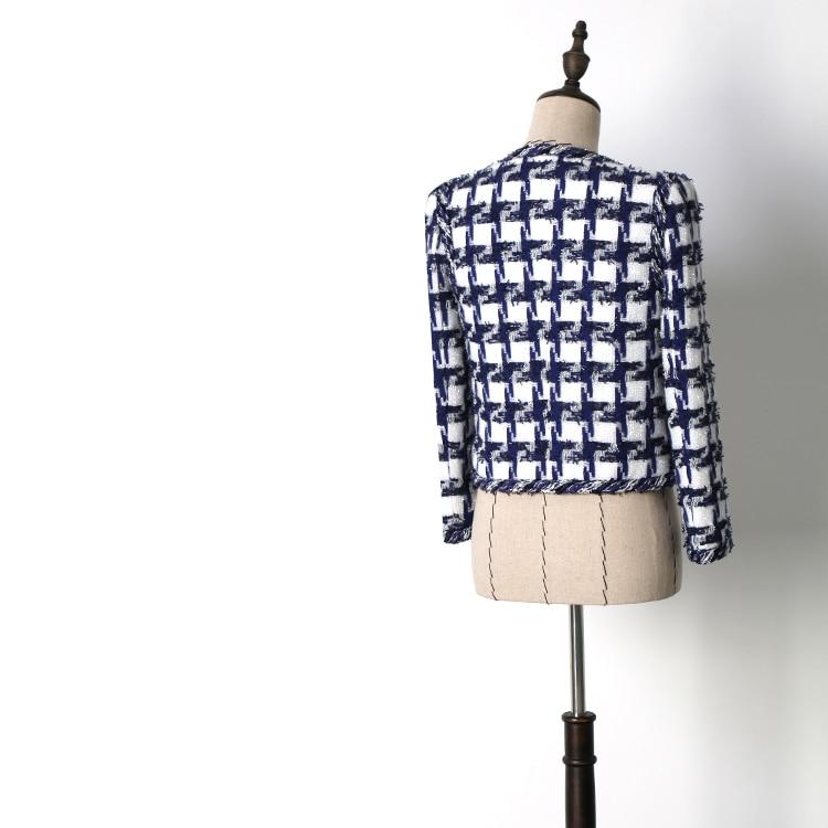 Mode 2018 Femmes White De Manches Poule Automne O Tweed Longues Manteau Haute Cou Veste Qualité Piste Courte À Élégance Blue Sn4w5Oaq