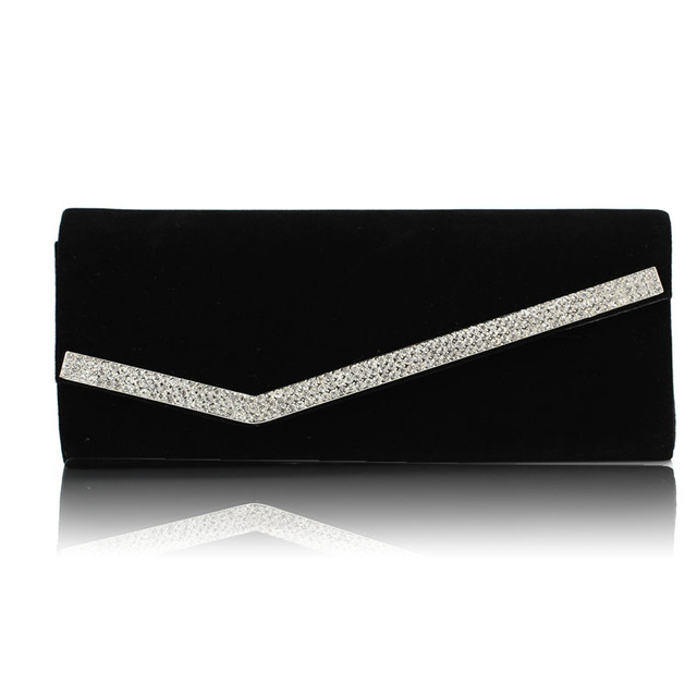 Lady's Inlayed Crystal Evening Bag Hard Case Party Clutch Bag