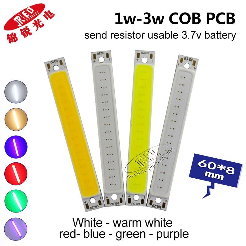 10/20PCS 1w 3w Led COB Light 18650 3.7 Battery LED Light 3.7v Subsize LED 60mm Rectangle White Warm White Red Blue Green UV400