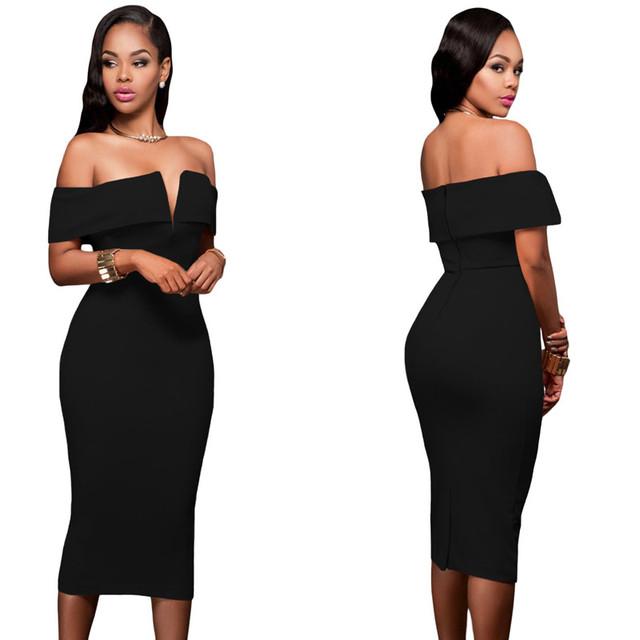 Off shoulder black bodycon knee length dress