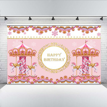 Pink Theme Photo Background Happy Birthday Banner Backdrop for Princess Party Decoration Carousel Playground