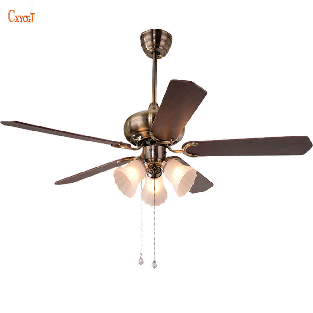 Vintage ceiling fans with lights - Vintage Ceiling Fan With Light Kits And Wood Blade Glass Lampshade For Foyer Bedroom Ac 110 240v