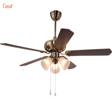 vintage ceiling fan with light kits and wood blade glass lampshade for foyer bedroom ac 110240v